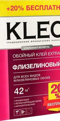 Клео EXTRA 42(+ 20%) бесплатно клей обойный для флизелиновых обоев 42кв.м.300г